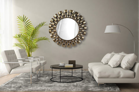 Chain Link Large Round Wall Mirror-Diameter 107cm