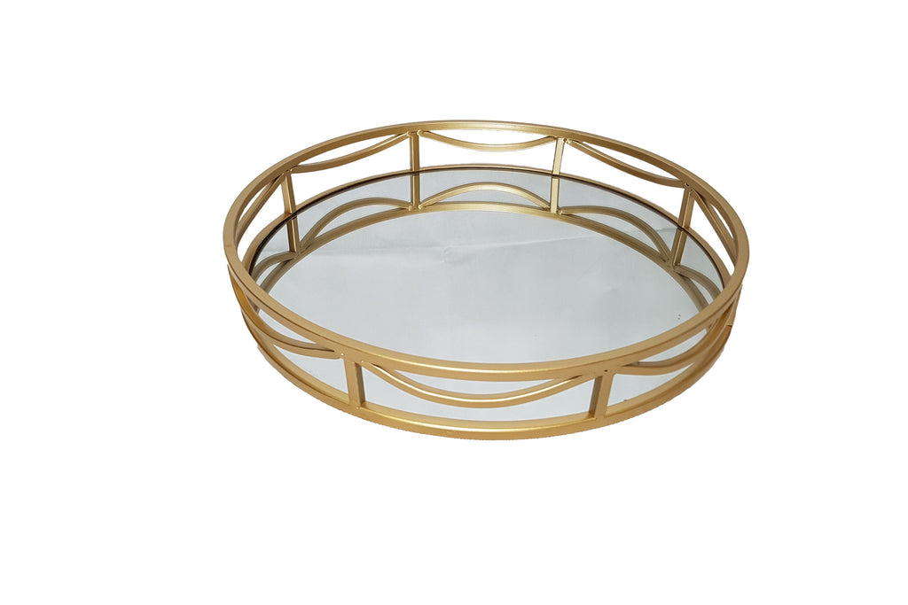 Art Deco Round Mirror Tray