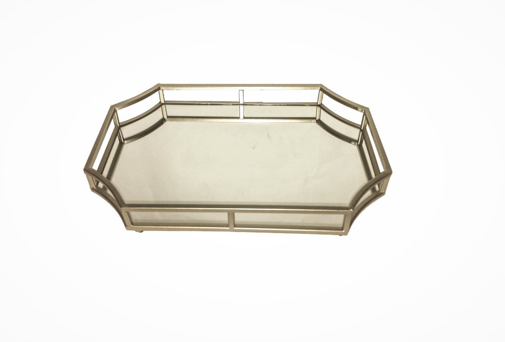 Geometric Shape Metal Mirror Tray