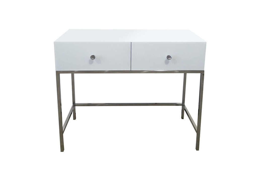 Louis White Mirrored Dressing Table With Chrome Legs