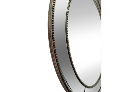 Florence Beaded Bevelled Round Mirror-Diameter 90cm
