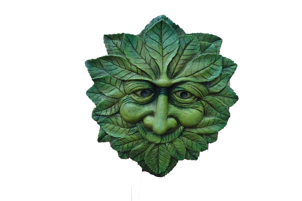 Garden Wall Art Green Man Smiling Green