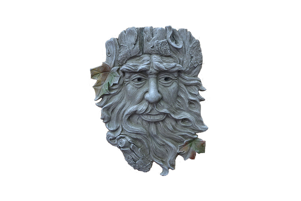 Garden Wall Art Bearded Green Man Grey