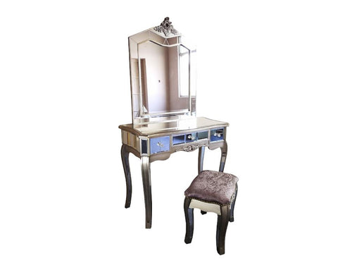 Glamour Antique French Style Mirrored Dressing Table Set
