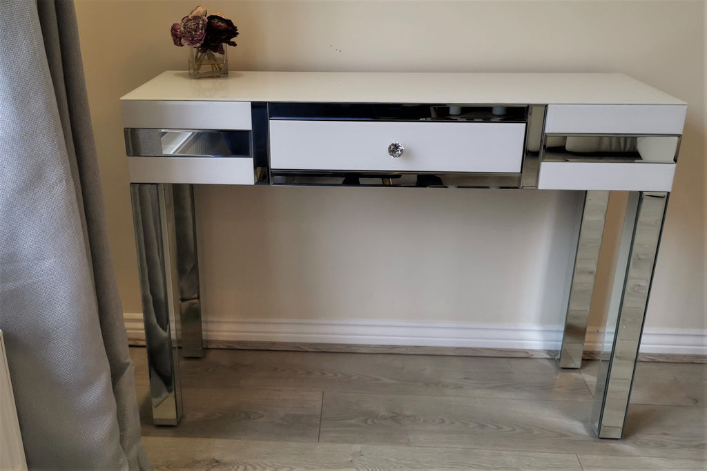 Amelia White Mirrored Console Table
