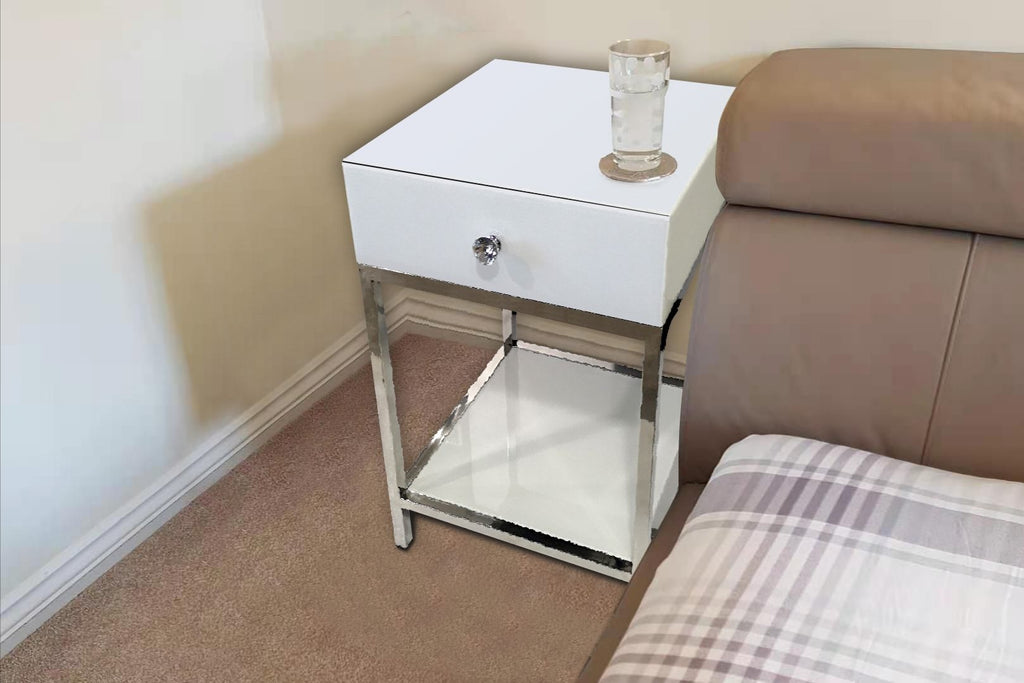 Louis White Mirrored Bedside Table With Chrome Stainless Steel Legs