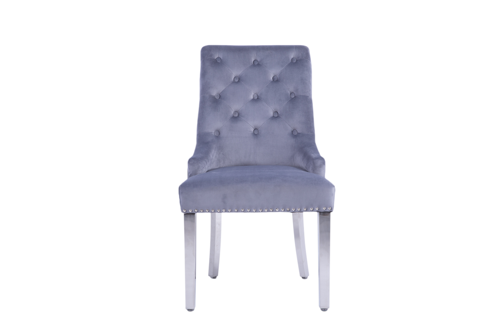 A pair of Louis Grey Velvet Upholstered Button Tutted High Back Dinning Chair with Silver Back Ring Knocker & Studs | Accent Side Chairs