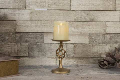 Ashworth Brass Twisted Metal Candle Holder - Height 20cm