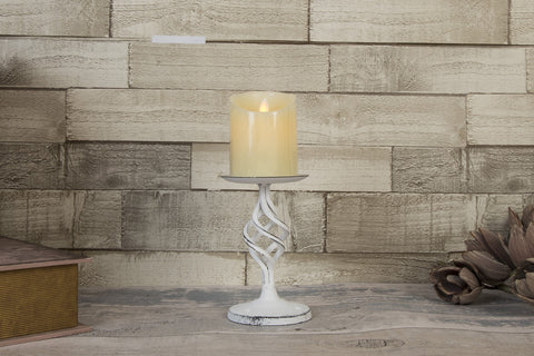 Ashworth Antique White Twisted Metal Candle Holder - Height 20cm