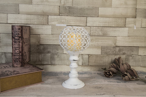 Marrakesh Antique White Goblet Candle Holder - Height 32cm