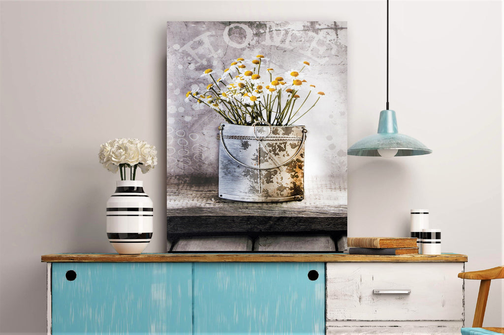 3D Canvas Art Potted White And Yellow Daisy
