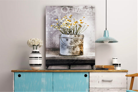 3D Canvas Art Potted White And Yellow Daisy - Height 60cm x Width 40cm