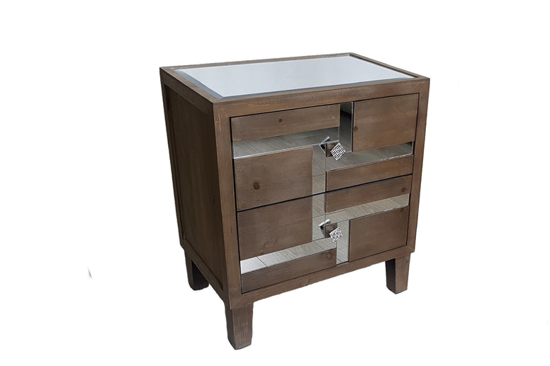 Nordic Wood and Mirror Bedside Table
