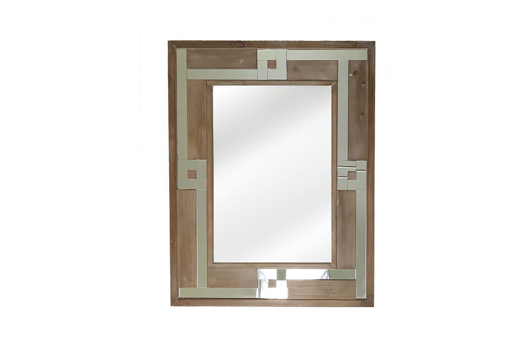 Wood & Mirrored Portrait Mirror