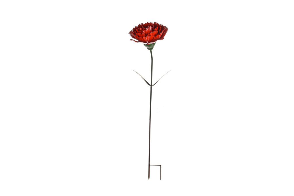 Garden Ornament Metal Red Rose