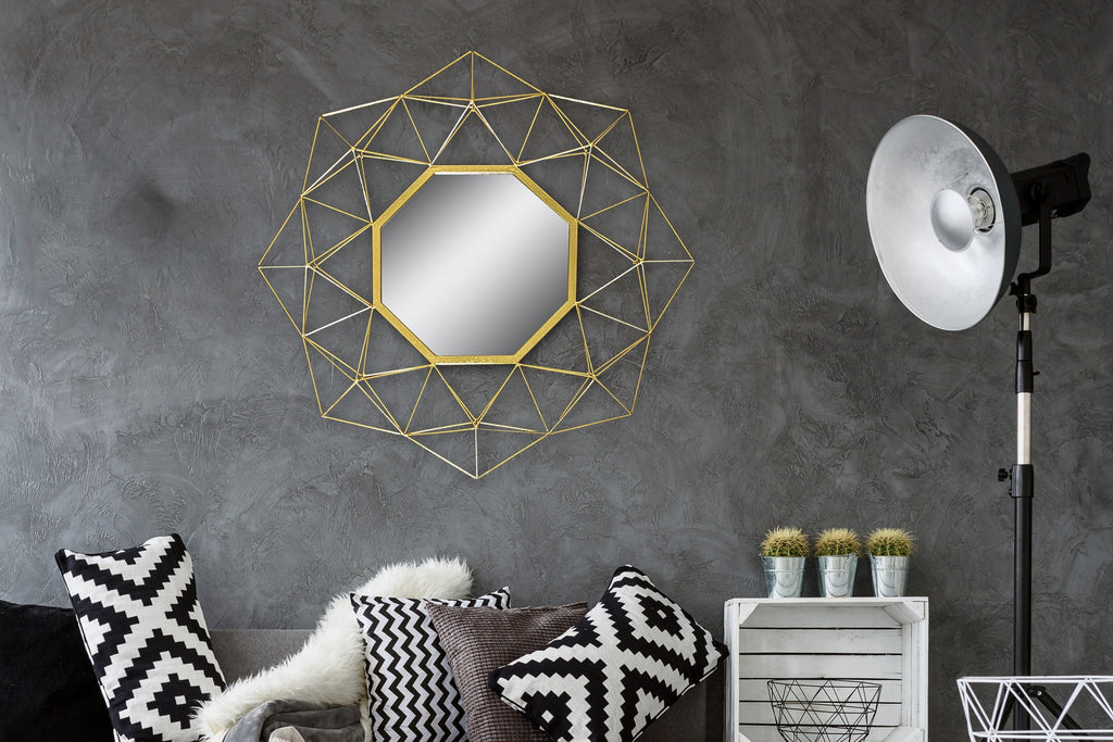 Geometric Wire Framed Mirror