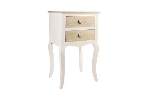 Rustic Charm Natual And White 2 Drawer Bedside Table - Height 68cm