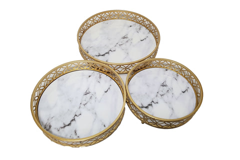 Round Marble Effect Trays Set Of 3