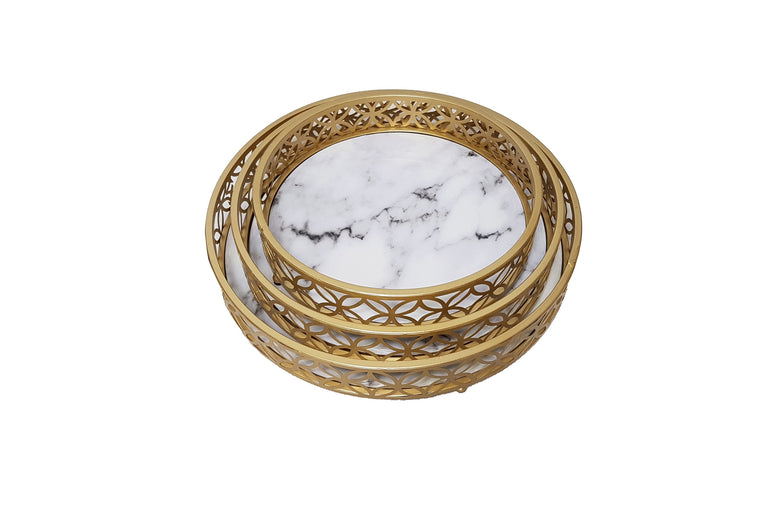 Round Marble Effect Metal Tray Set of 3