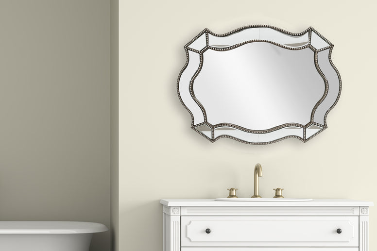 Florence Beaded Bevelled Curved Mirror-Length 96cm