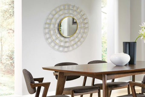 Sunburst Cut Out Round Mirror