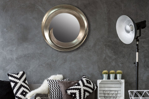 Swish and Flick Large Round Wall Mirror - Diameter 70cm