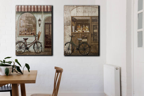 3D Canvas Art Maison De Vin With Metal Bike - Height 60cm x Width 40cm