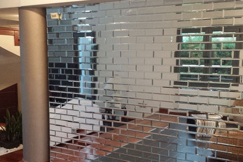 Clear Mirrored Tiles Set of 22
