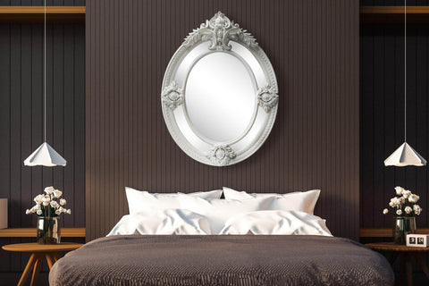 Vintage Elegant Large Oval Light Grey Wall Mirror-Height 120cm