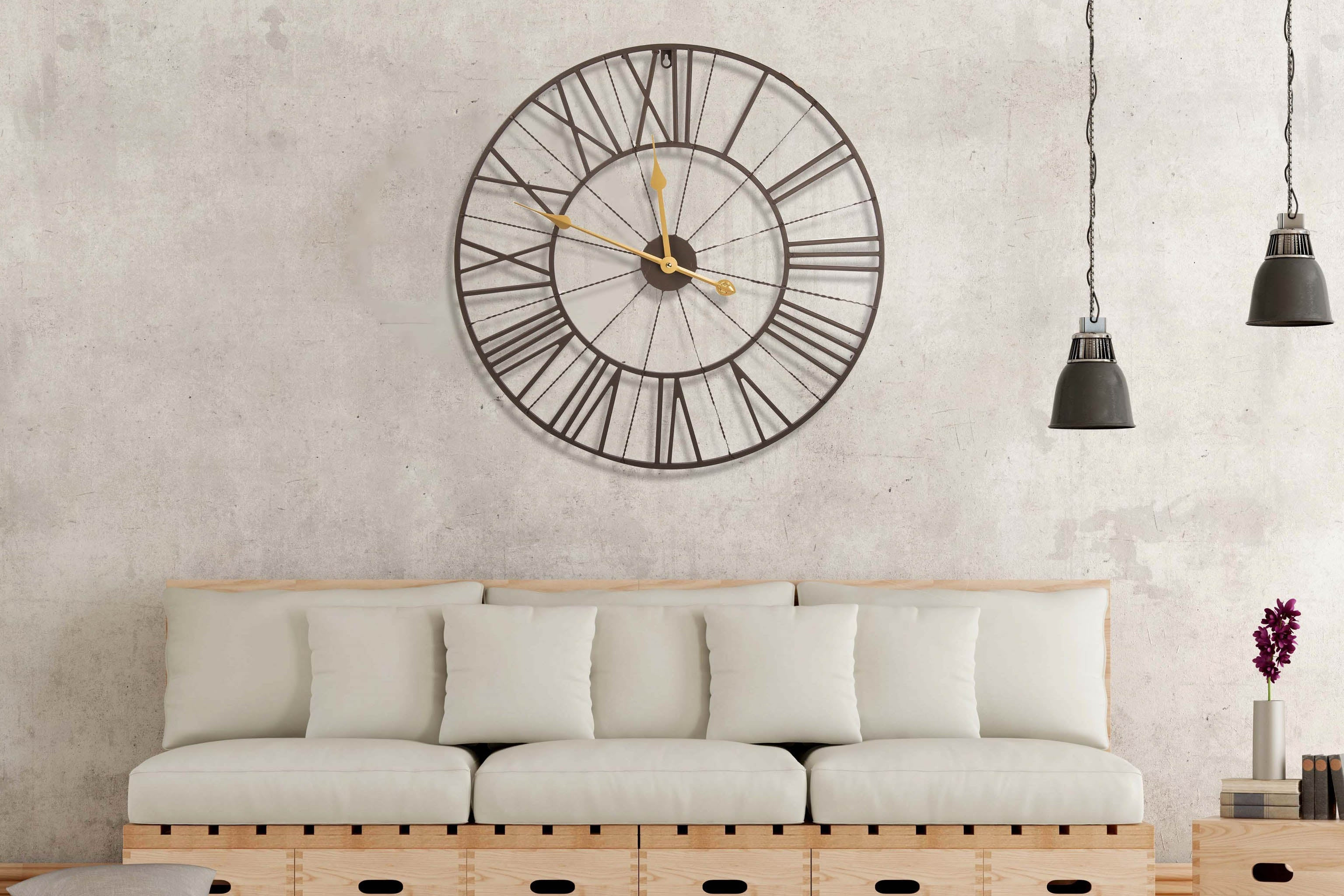 Large Round Dark Brown And Gold Metal Wall Clock Roman Numerals