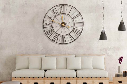 Large Round Dark Brown And Gold Metal Wall Clock Roman Numerals - Diameter 60cm