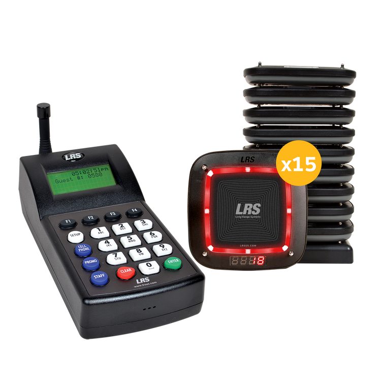 An image of the LRS Connect Pro Guest Paging System (Guest Pager PRO Kit 15) in red, with 15 pagers and the LRS Connect Transmitter for instant guest notification and list management.