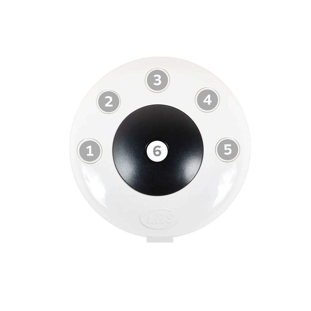 An image of the LRS Pronto Six-Button Push-for-Service Device (TX-Pronto-6) for instant notification for customer service, manager assistance, back up, clean up.