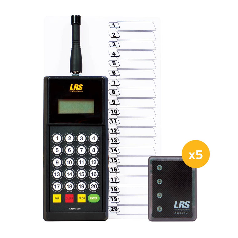 An image of the LRS Staff Paging System 5 Pager Kit (Staff Kit 5) in black, for server and wait staff paging notification.