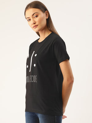 Sad or Happy - You Decide Women Black T-Shirt - YOLOCLAN