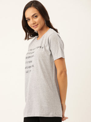 Whatever Comes Let it Come Women Grey T-Shirt - YOLOCLAN
