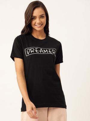 Dreamer Women Black T-Shirt - YOLOCLAN