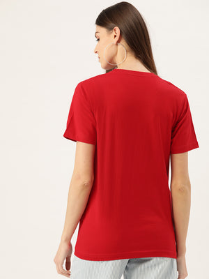 Dreamer Women Red T-Shirt - YOLOCLAN