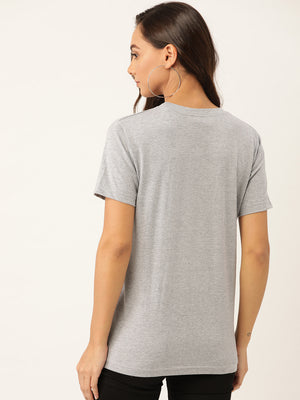 Dream and Believe Women Grey T-Shirt - YOLOCLAN
