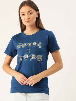 Music is Life Women Blue T-Shirt - YOLOCLAN