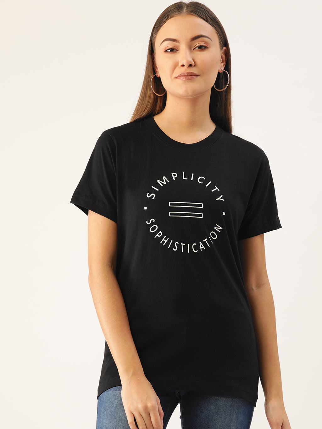 Simplicity is Sophistication Women Black T-Shirt - YOLOCLAN