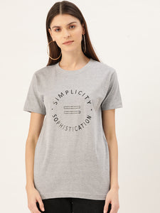 Simplicity is Sophistication Women Grey T-Shirt - YOLOCLAN