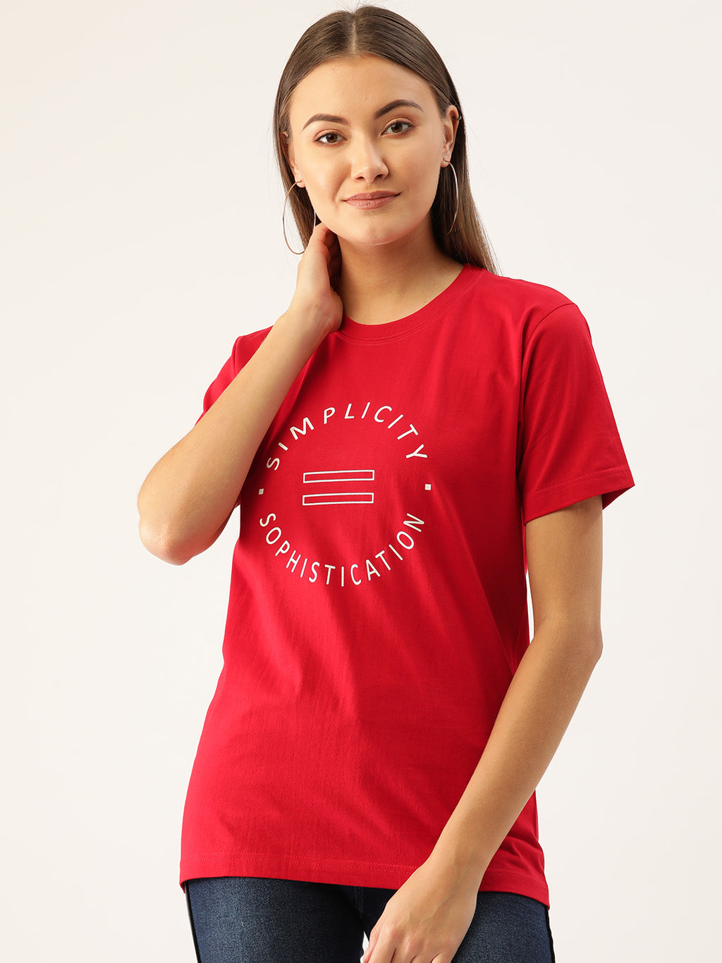 Simplicity is Sophistication Women Red T-Shirt - YOLOCLAN