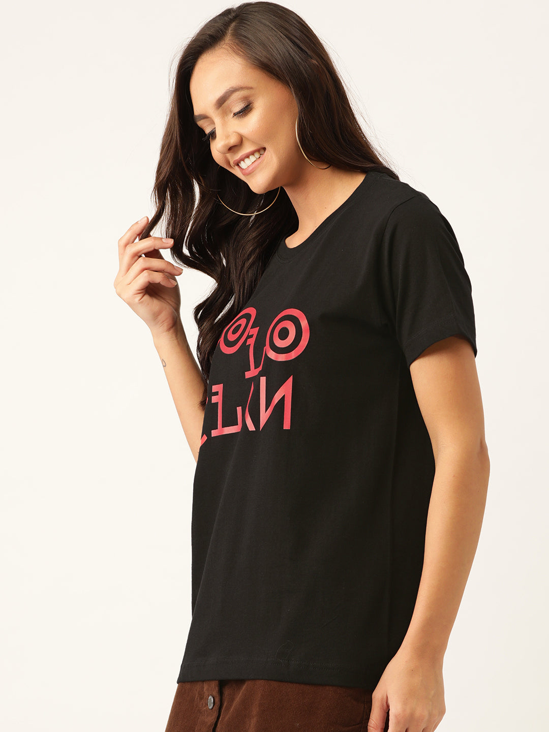 YOLOCLAN Signature Women Black T-Shirt - YOLOCLAN