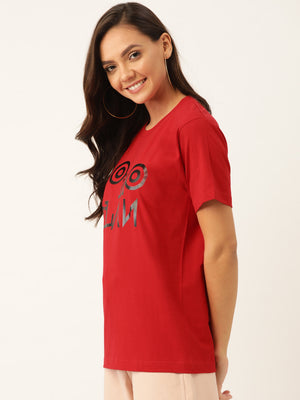 YOLOCLAN Signature Women Red T-Shirt - YOLOCLAN