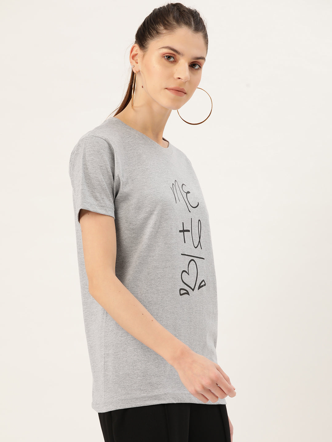 Me and U is Love Women Grey T-Shirt - YOLOCLAN