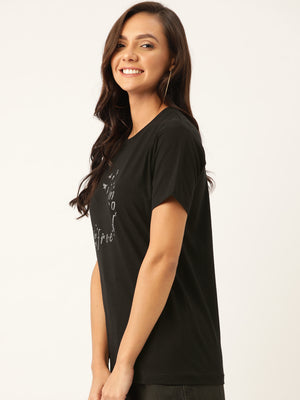 Freedom Women Black T-Shirt - YOLOCLAN