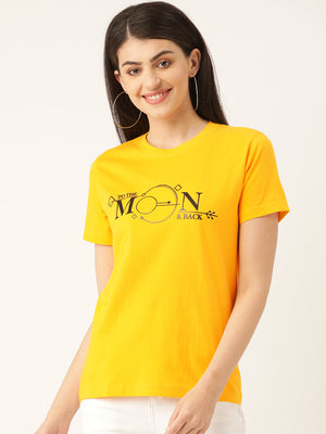 Moon Women Yellow T-Shirt - YOLOCLAN