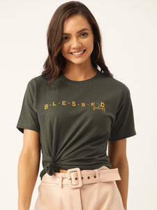 Blessed Feeling Women Green T-Shirt