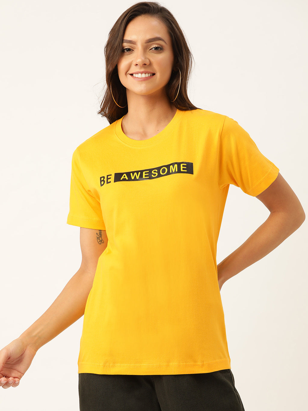 Be Awesome Women Yellow T-Shirt